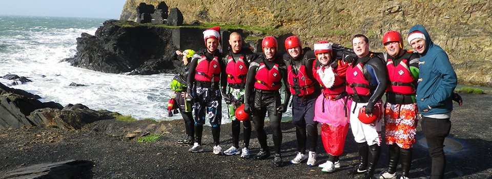 Winter coasteering with a stag party at the Blue Lagoon near St Davids, North Pembrokeshire