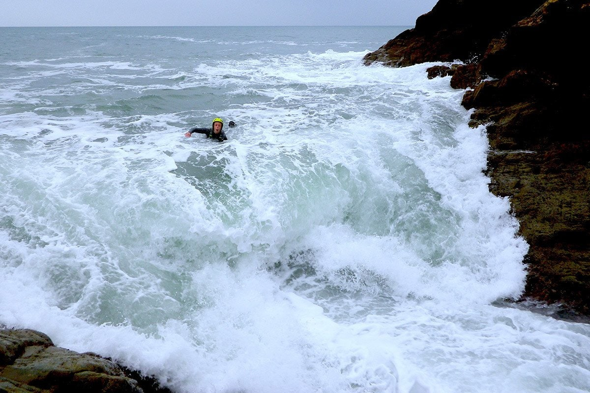 Wales' Natural Waterpark. Big waves in the Tumble Dryer - Pembrokeshire's coast has many water features