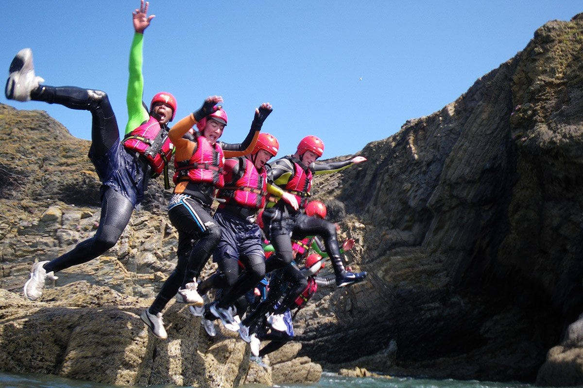 MOD & Forces adventure Coasteering in Wales, a challenging outdoor activity for adults