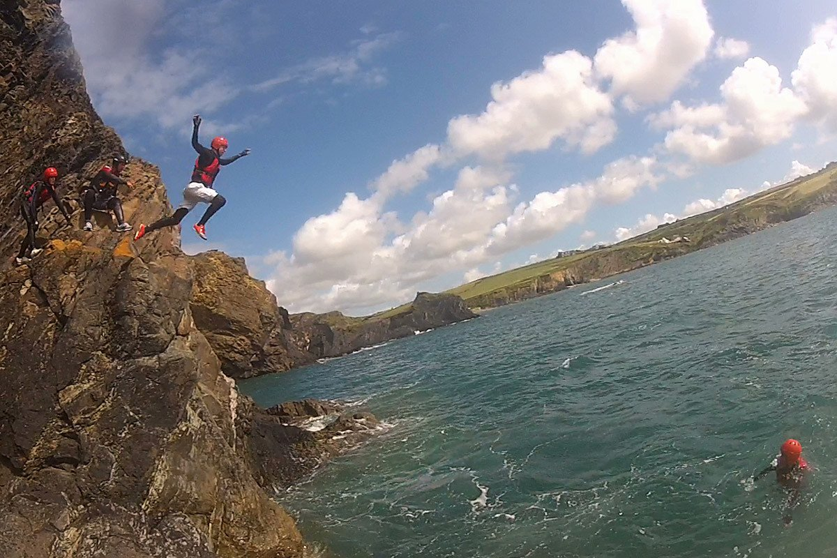 Cliff Jumping in Pembrokeshire. Jumps range from zero to 40ft, all cliff jumps are optional.