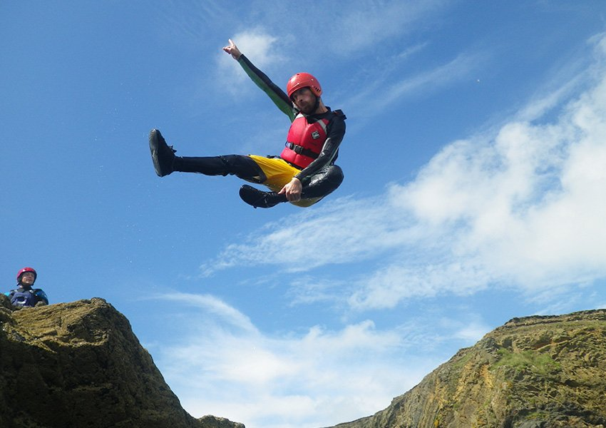 Adult Coasteering, students, forces, couples and small parties, large activity groups, Pembrokeshire South West Wales