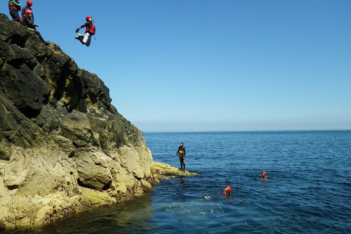 Cliff jumping in Pembrokeshire Wales. Jumps range from zero to 35ft, all jumps are optional.