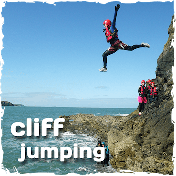 Coasteering cliff jumping up to a height of 10 metres or 40ft