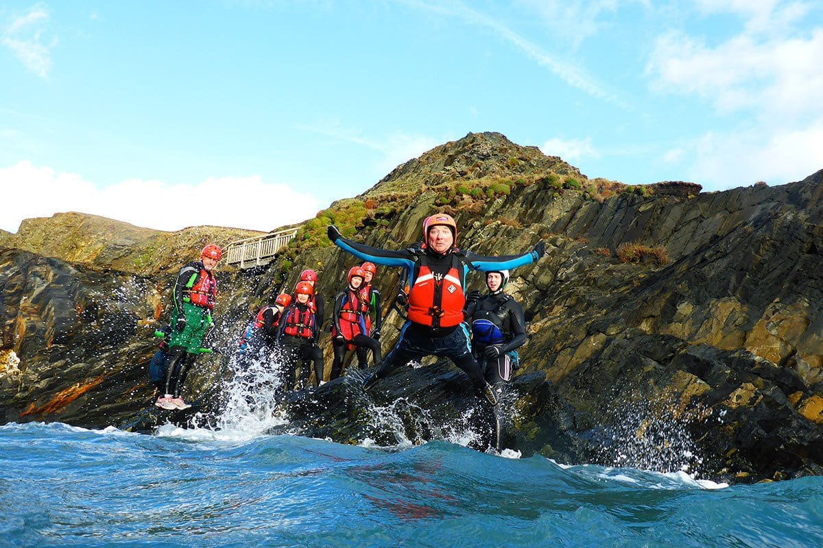 Coasteering is a fun family day out. Parents, mums and dads enjoy the adventure activity too!