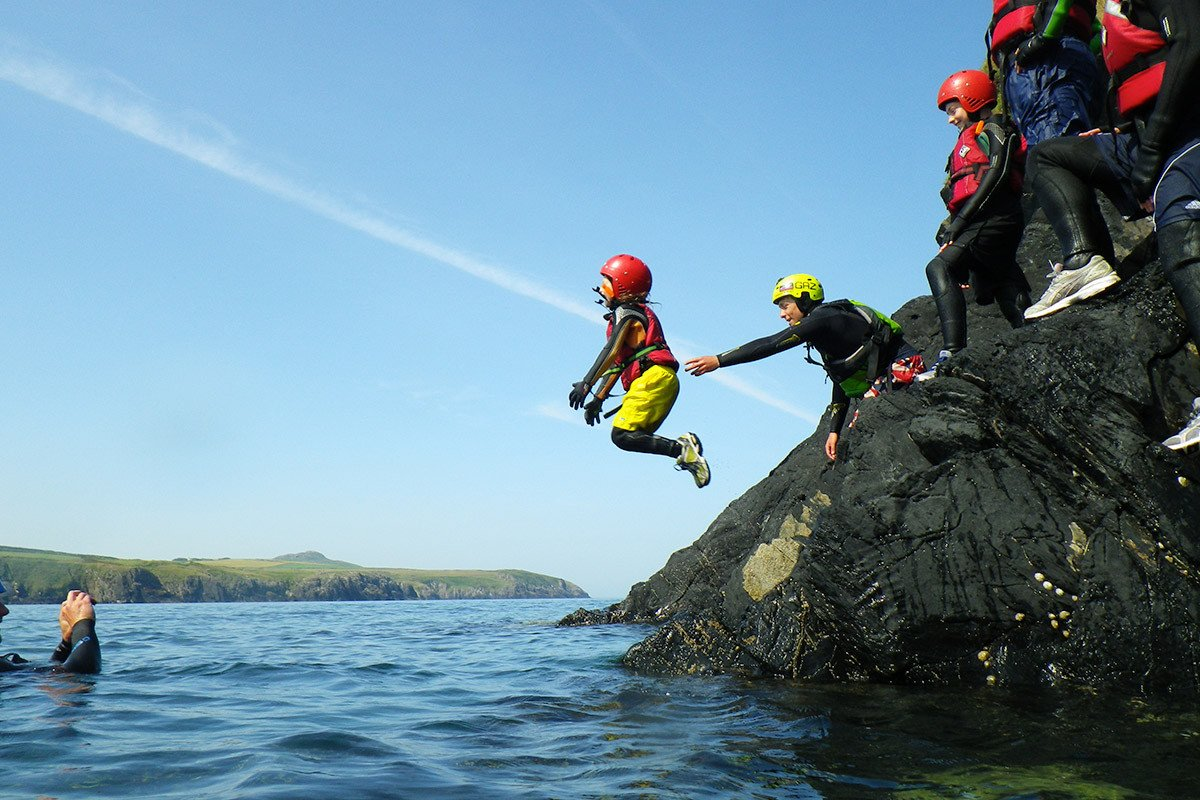 Low level cliff jumping. Take a close up look at the Pembrokeshire coastline, explore sections seen from the Coast Path