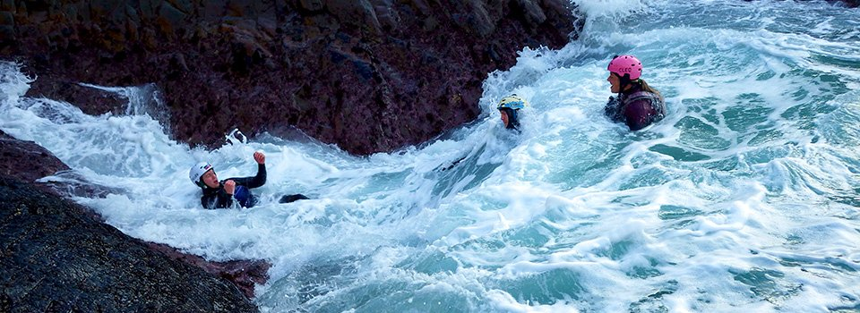 Rough water in the Tumble Dryer, Coasteering in Pembrokeshire Wales