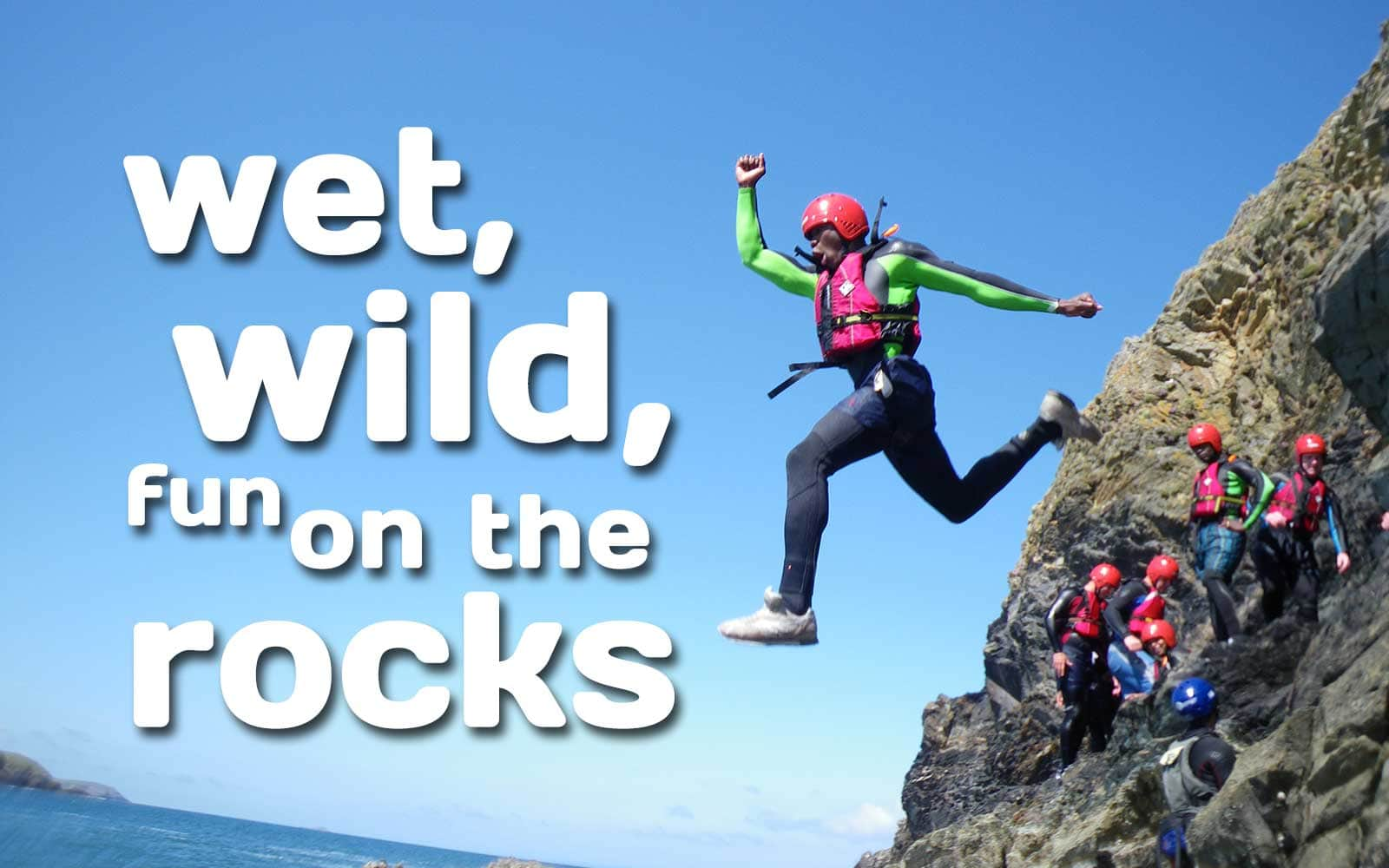 Coasteering involves a mix of cliff jumping, scramble climbing, body surfing, wild swimming and more.