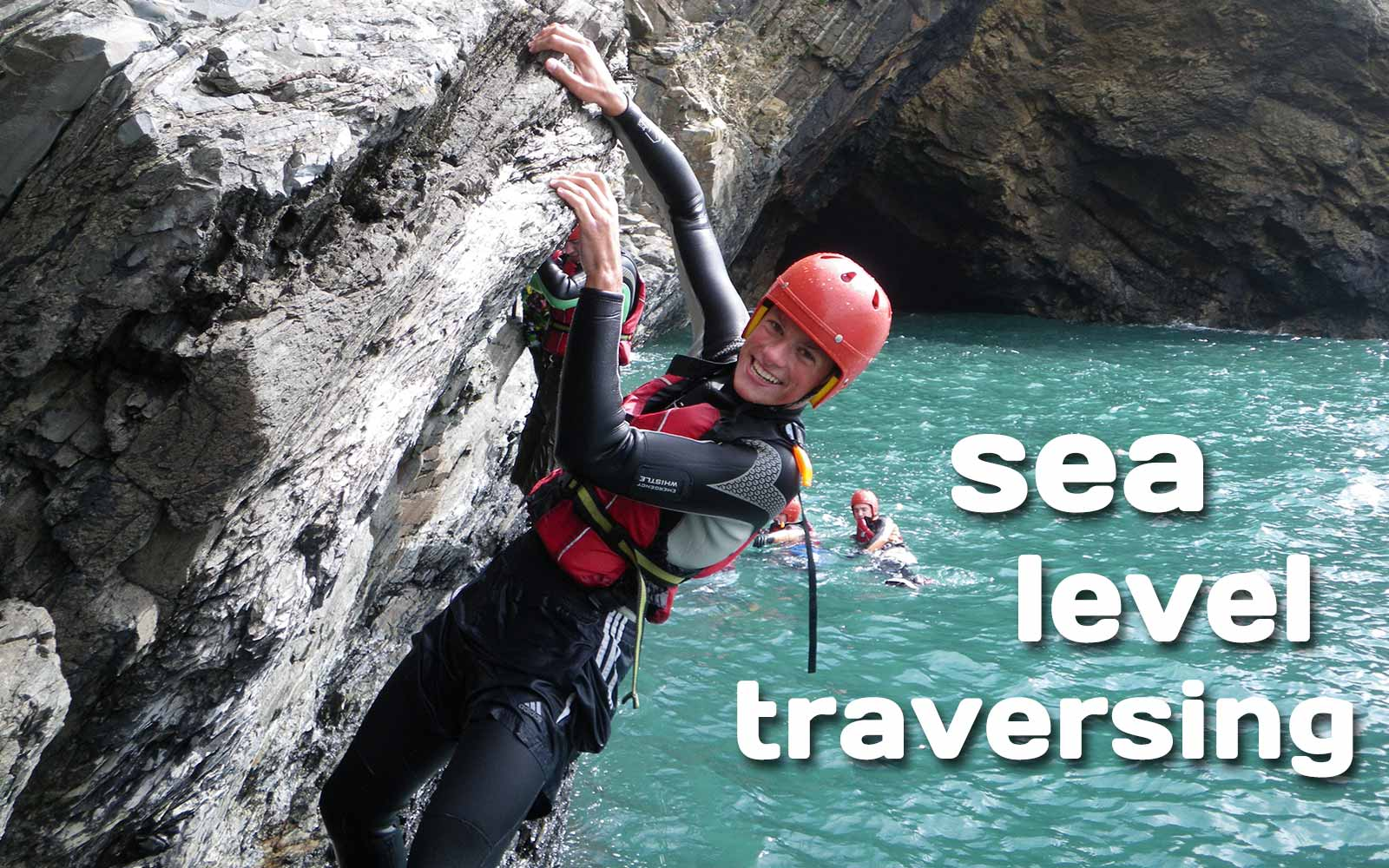 Sea level traversing - sea cliff climbing along the Pembrokeshire coast in Wales