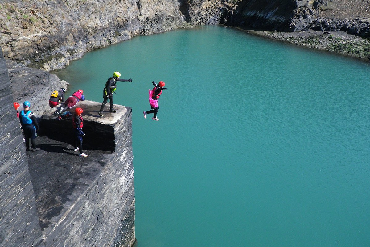 Hen party weekends in Pembrokeshire. All coasteering adventures finish in the Blue Lagoon