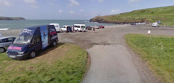 Celtic Quest Coasteering van parked at Abereiddy Beach, Pembrokeshire Wales
