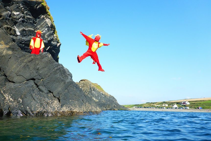 Welsh Dragon Coasteering at Abereiddy Bay in Pembrokeshire