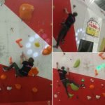 Gabe trying out the Superbloc Arch Climbing Wall