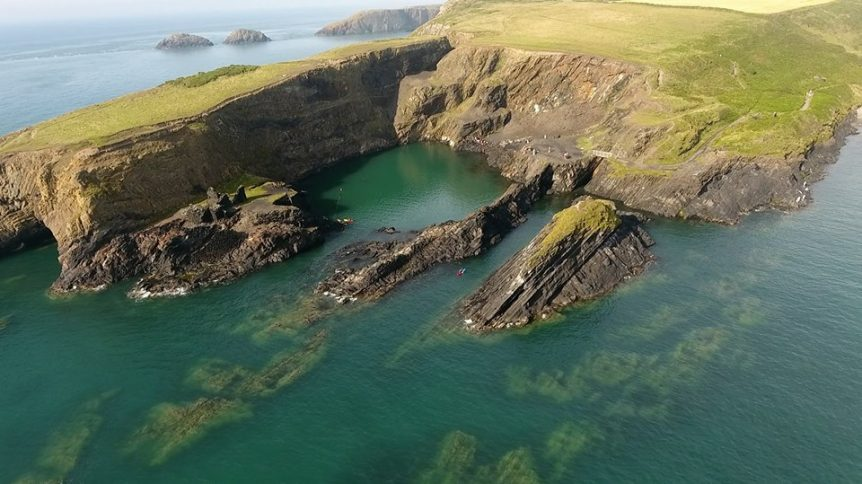 Abereiddy Blue Lagoon from the air. Pembrokeshire Wales