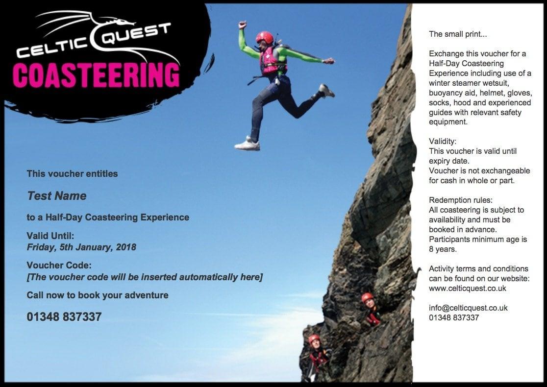 Coasteering Activity Experience Gift Vouchers