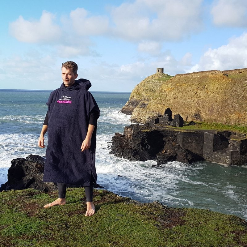 CQCoasteering terry towel changing robe. Adult size, cozy and warm. Quick drying quality terry towel material for those chilly changes at the beach.