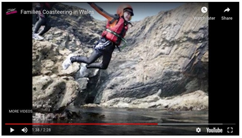 Coasteering compilation movie. Footage of children adventuring on the Pembrokeshire coast with the Celtic Quest Coasteering Team. Minimum age 5 years, young children and teenagers enjoy this activity.