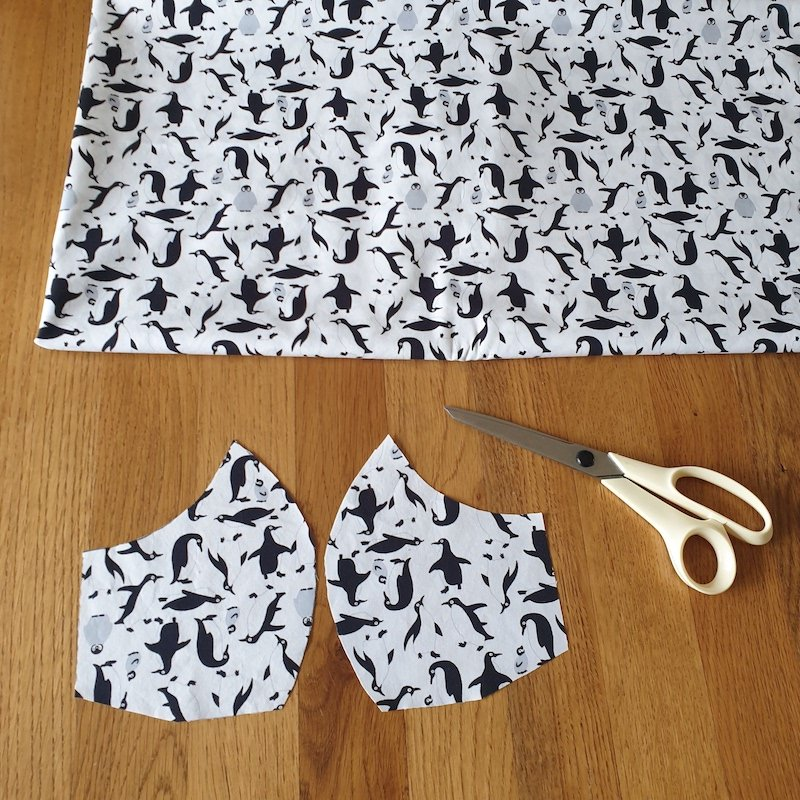 Cut outer fabric x2 per mask. Cotton duvet covers/sheets are ideal.