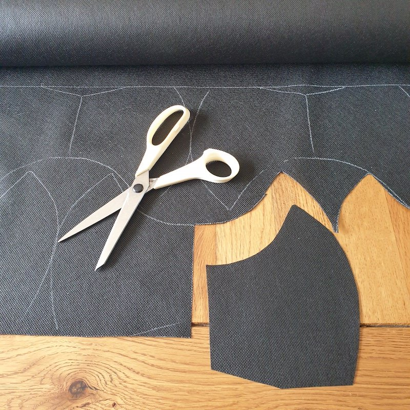 Cut filter material x2 (double them if the material is particularly thin). We found cutting this slightly narrower than outer and liner makes hemming/sewing in the elastics easier/quicker.