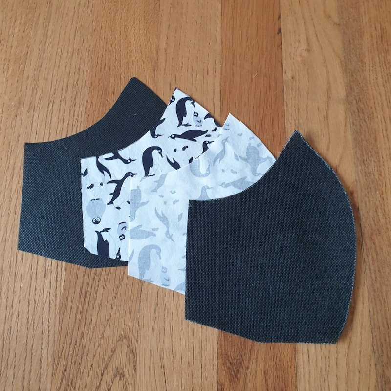 Pair the outer and filter layers in this order, ready for sewing